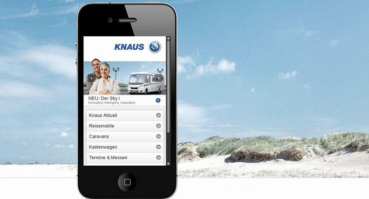Auf die Webseite www.knaus.de kann ab sofort auch von einem Smartphone aus zugegriffen werden