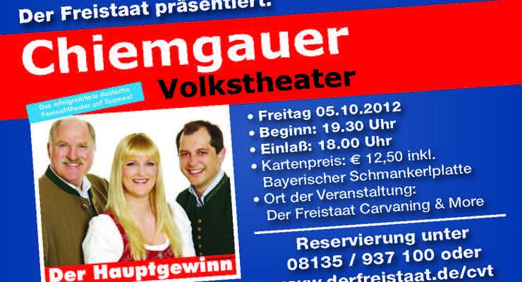 Im Rahmen der Herbstsonderschau (05.10. bis 14.10.2012) tritt am 05.10.2012 das Chiemgauer  Volkstheater mit Bernd Helfrich auf.