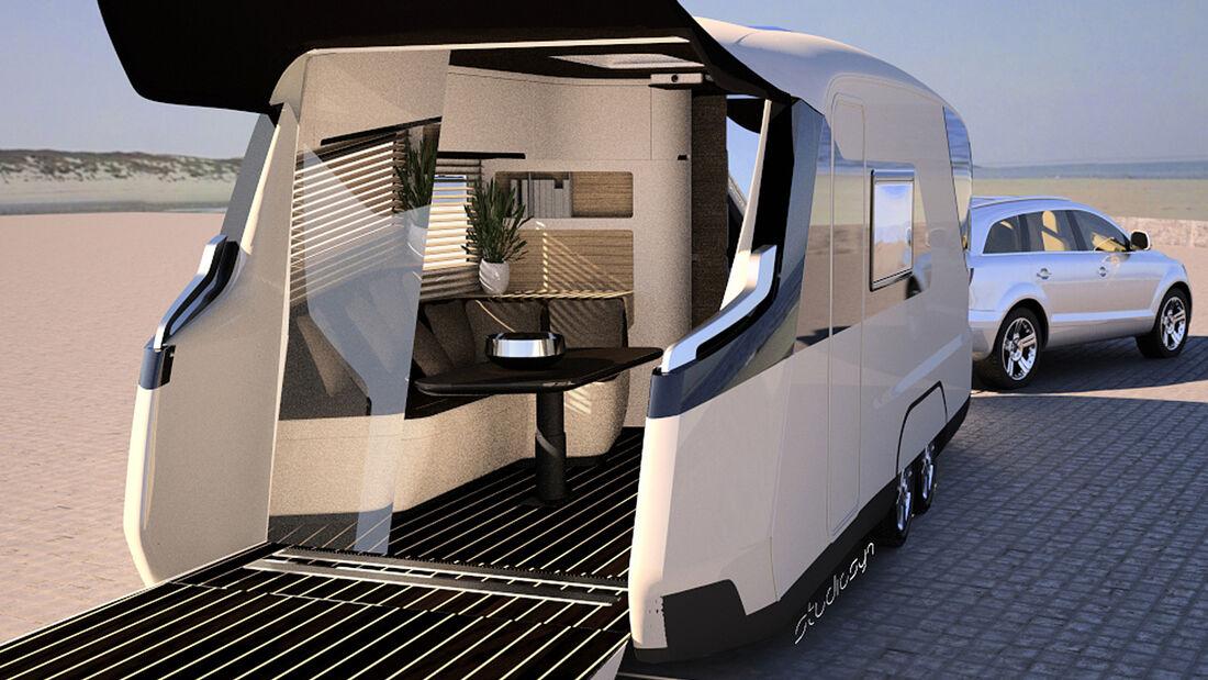 """""""Caravisio"""" nennt sich die Studie, mit der Knaus Tabbert auf dem Caravan-Salon in Düsseldorf in die Zukunft des Wohnwagens blickt."""