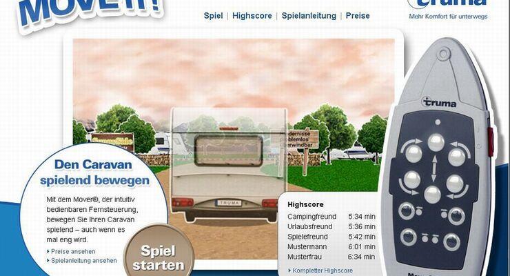 """""""Move it"""" heißt das Truma Mover®- Spiel, mit dem man das Rangieren eines Wohnwagens am heimischen Computer  simulieren kann"""