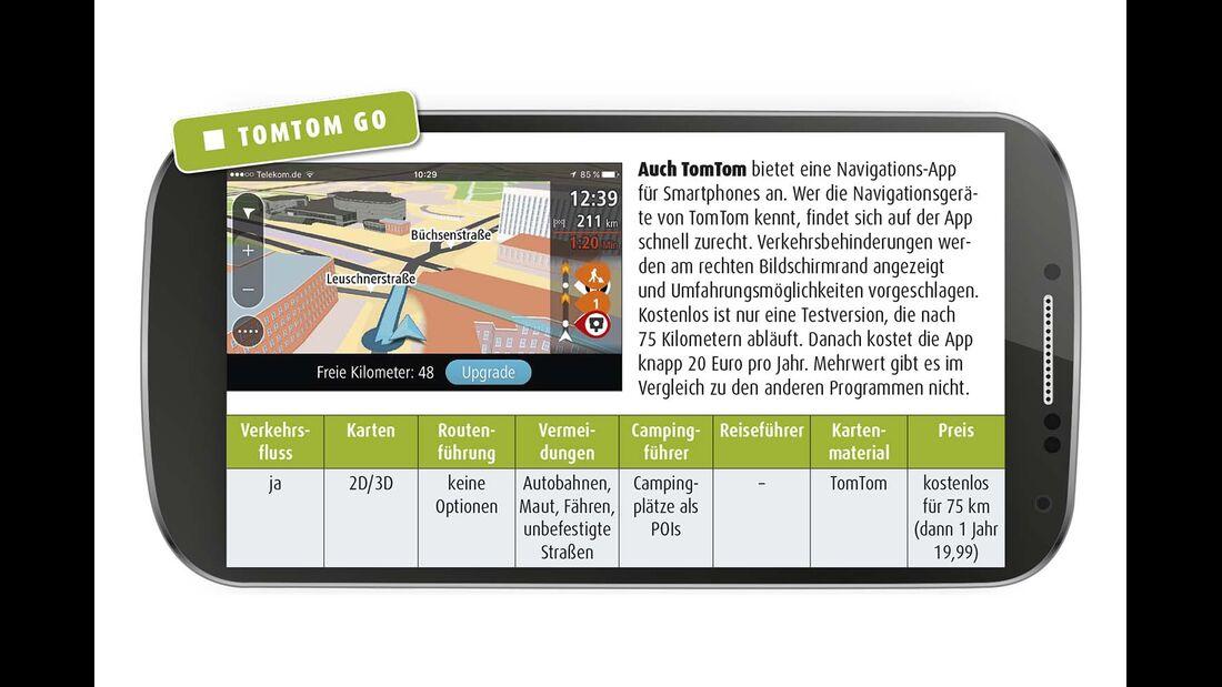 Auch TomTom bietet eine Navigations-App für Smartphones an.