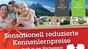 Auch in der Hochsaison setzen die neueröffneten Anlagen Camping Resort Zugspitze****** sowie der komplett modernisierte Drei-Sterne-Platz Camping Erlebnis Zugspitze*** in Grainau bei Garmisch-Partenkirchen ihre Kennenlern-Kampagne mit deutlich ermäßigten Schnupperpreisen fort.