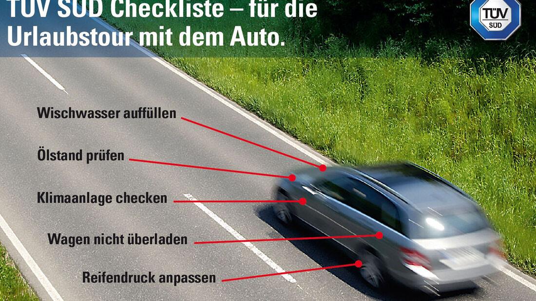 Bald beginnen in den ersten Bundesländern wieder die Sommerferien. Dann haben auch die Pannendienste Hochbetrieb. Mit der TÜV SÜD-Checkliste soll das Auto für die Urlaubsfahrt vorbereitet werden.