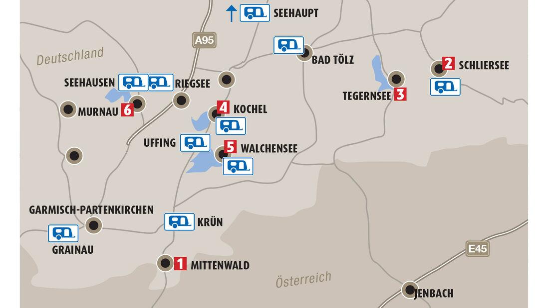 Bayerische Seen: 10 Campingplätze und sechs sehenswerte Orte.