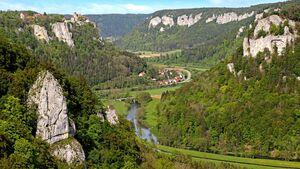 Bis zu 200 Meter ragen die weißen Kalkfelsen an der Oberen Donau empor.