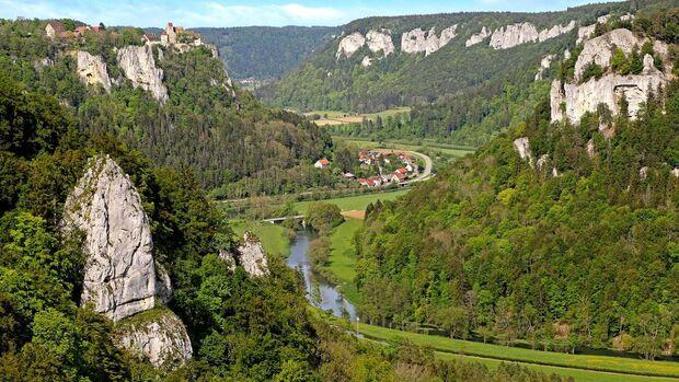 Blick vom Eichfelsen in Irndorf an der oberen Donau