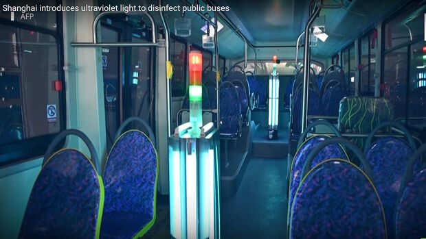 Bus-Desinfektion mit UV-Licht in Shanghai