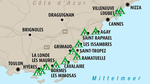 Côte d'Azur, Campingplätze, Südfrankreich