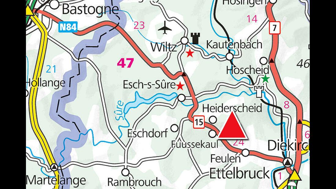 Camping Fuussekaul, Landkarte, Lage, Heiderscheid