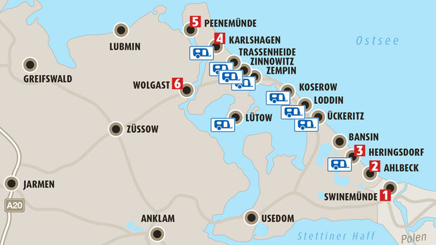 Camping-Tour Usedom: Neun tolle Campingplätze und sechs sehenswerte Orte an der Ostsee.