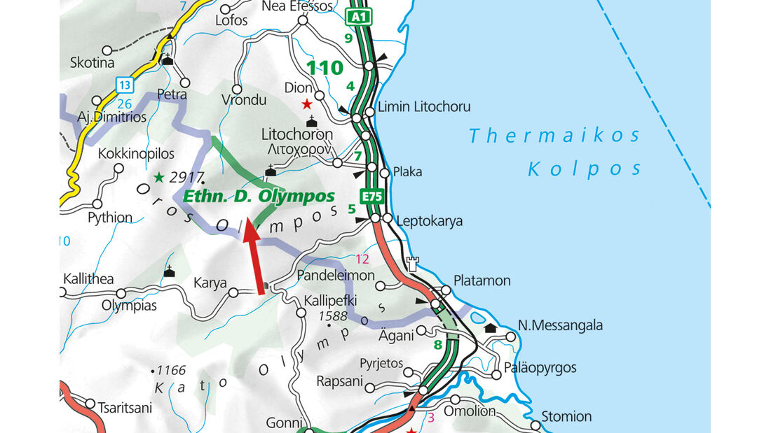Campingplatz-Tipp: Griechenland, Olympos Beach Camping, Karte