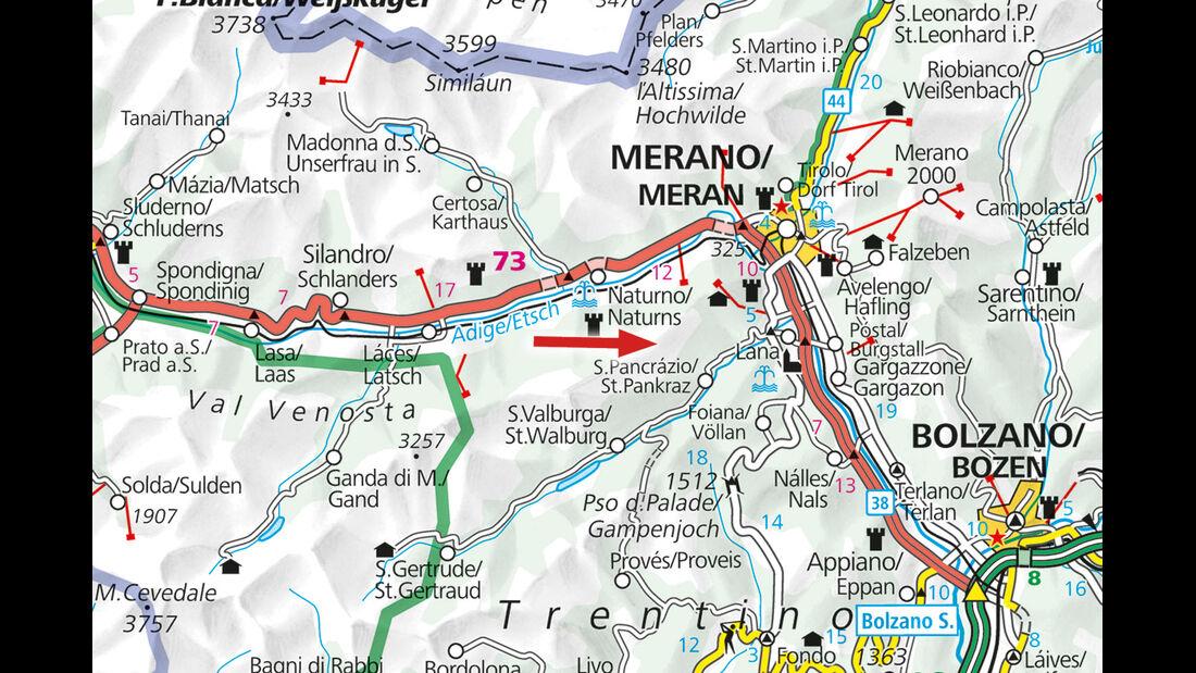 Campingplatz-Tipp: Italien, Naturns, Karte