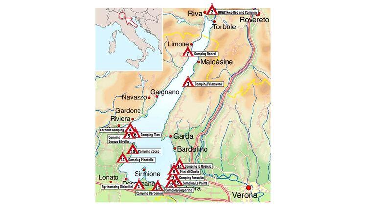 camping gardasee karte Die 15 besten Campingplätze rund um den Gardasee   Caravaning
