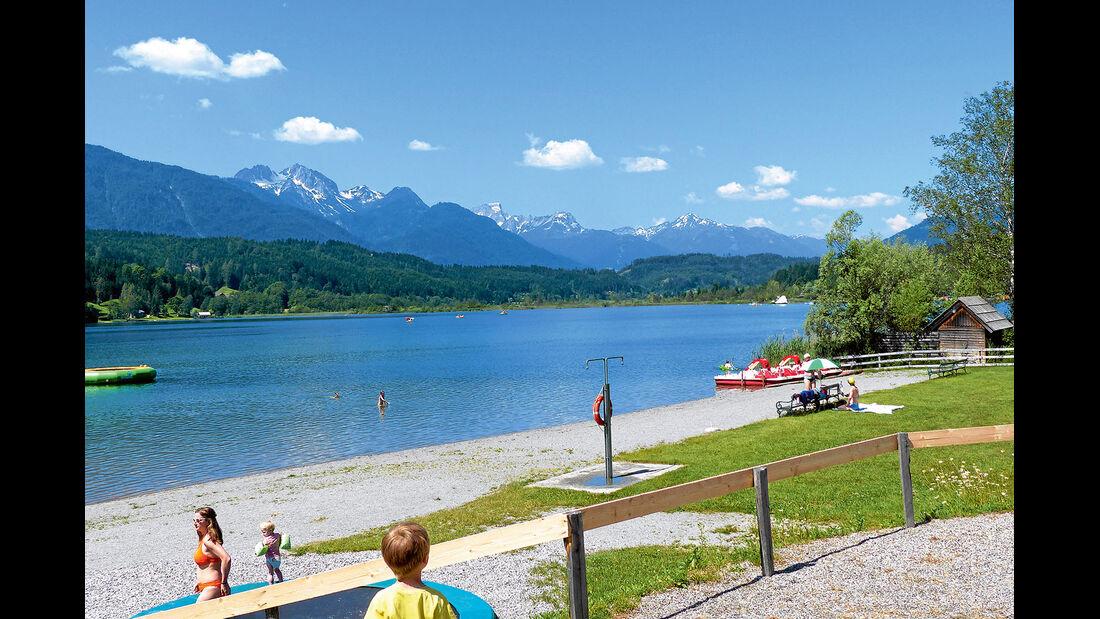 Der Schluga-Strand ist für Camping- und Apartmentgäste kostenlos.
