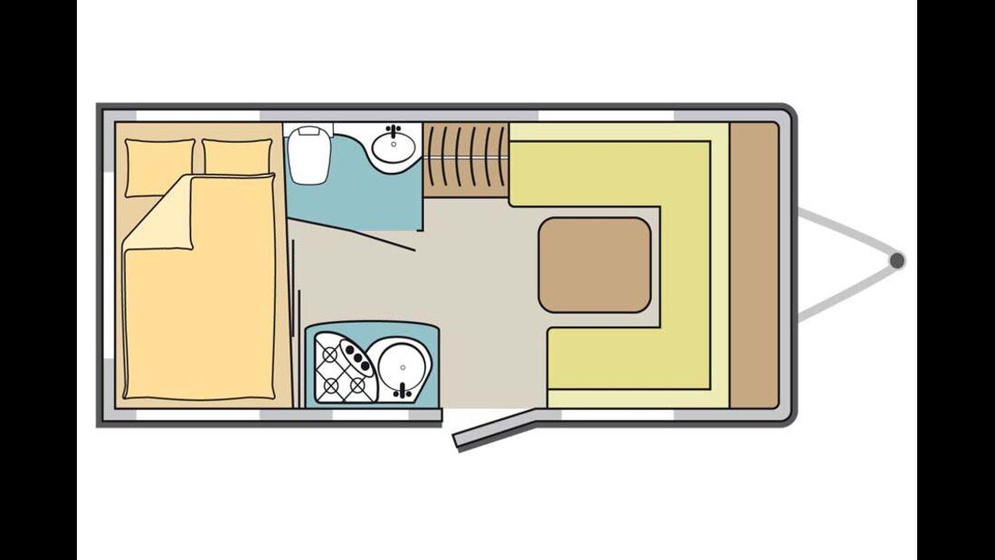 Dethleffs Camper 430 DB, Grundriss