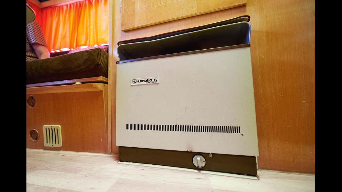 Die Truma-Heizung gehört zur Ausstattung des 1972er Tabbert Comtesse