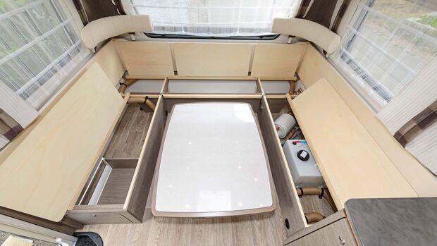 Die linke Sitztruhe ist fast vollständig von Technik belegt, nur die hintere ist ganz frei.