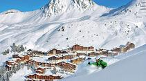 Die schneesicheren Skihaenge von La Plagne.
