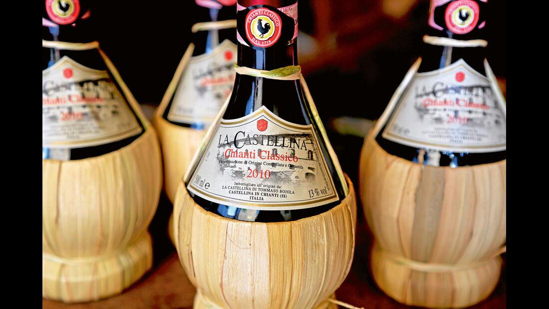 Eine typische Chianti-Korbflasche.
