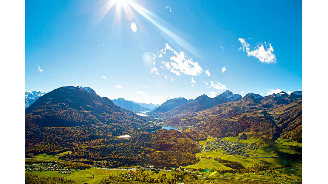 Engadiner Seenplatte und St. Moritz.