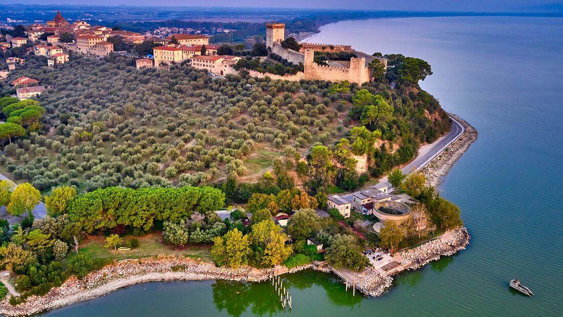 Fortress of Castiglione del Lago on Lake Trasimeno, Umbria, Italy
