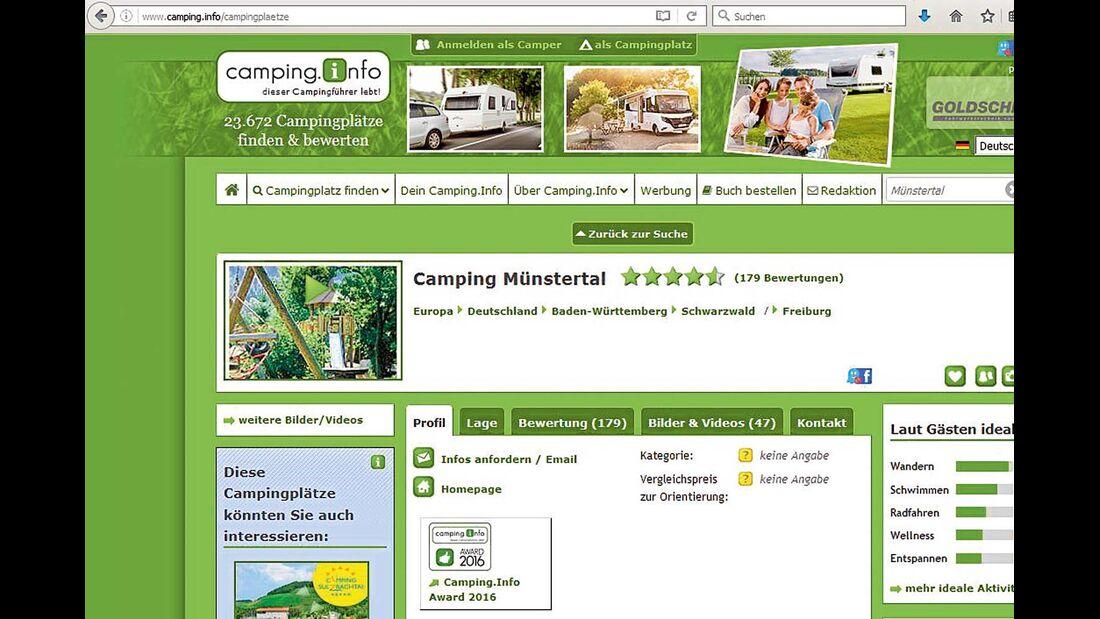 Funktionalität überzeugt bei www.camping.info