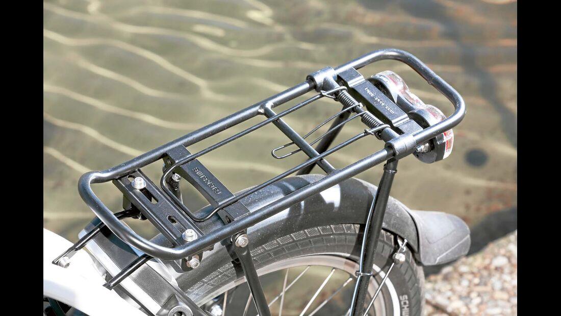 Gepäckträger kann dank Racktime-Adapter mit Taschen und Körben diverser Hersteller bestückt werden