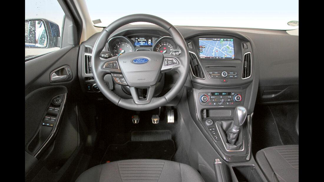 Glänzen kann der Ford Focus Turnier 2.0 TDCI mit ergonomischen Sitzen und einfachem Bedienkonzept.