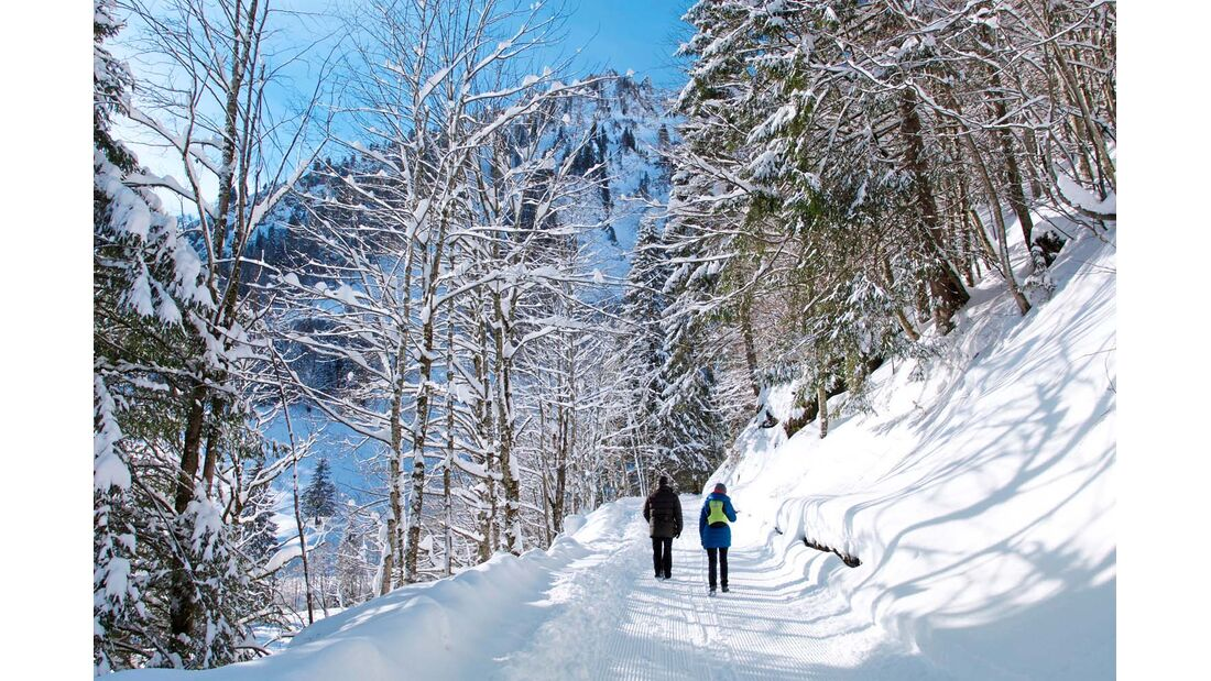 Herrlich, wie der frische Schnee auf 50 Kilometer geräumten Wegen unter den Schuhen knirscht!