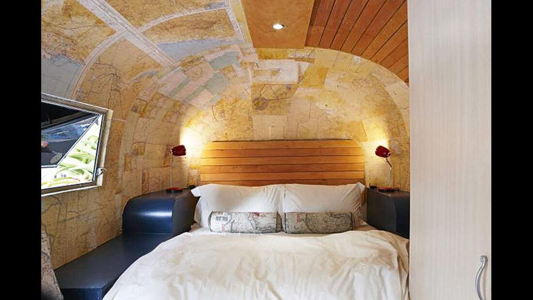 Historische Airstream- Caravans mit liebevoll gestalteten Interieurs.