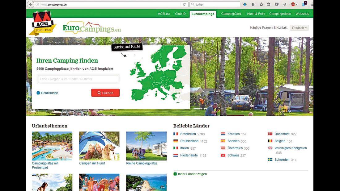 Internetseite von www.eurocampings.eu