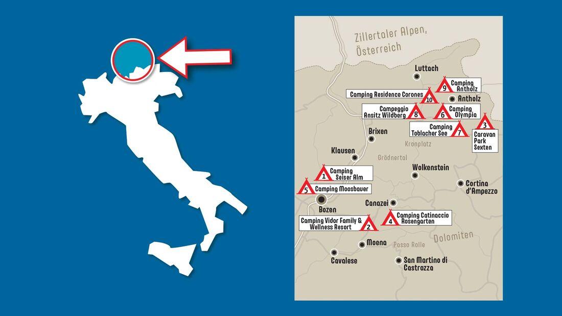 Karte, Dolomiten, Campingplätze