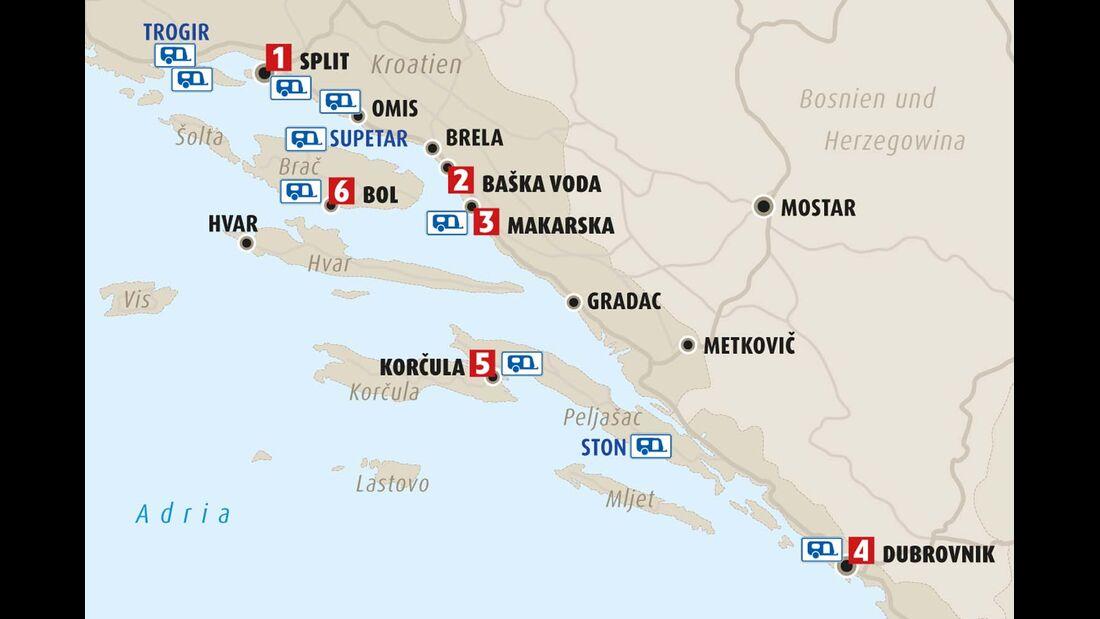 Karte Region Dalmatien