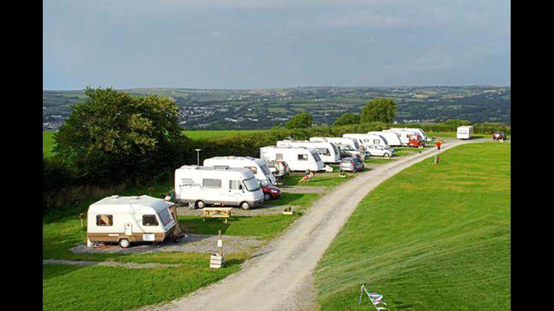 Llety Caravan Park: direkt an den Klippen, tolle Aussicht.