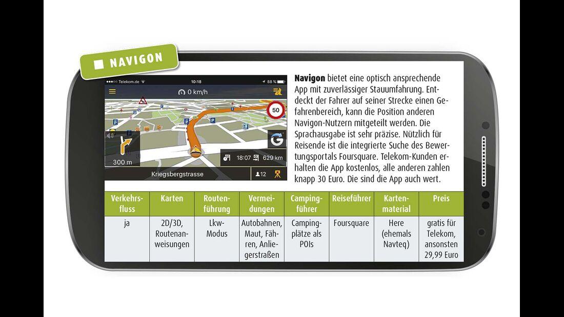 Navigon bietet eine optisch ansprechende App mit zuverlässiger Stauumfahrung.