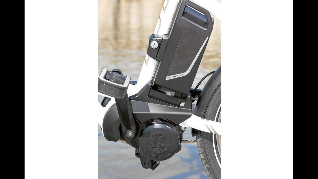 Panasonic-Mittelmotor unterstützt sanft, Akku bietet 432 Wh und reicht etwa 70 Kilometer beim Hymer E-Bike