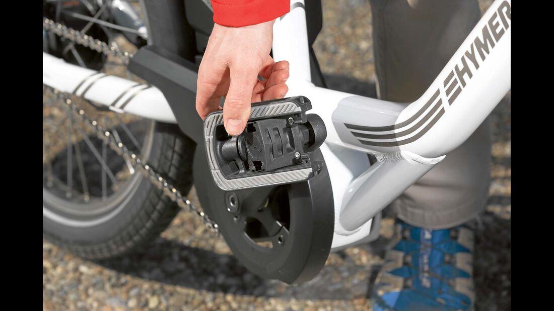 Pedale können eingeklappt werden beim Hymer E- Bike