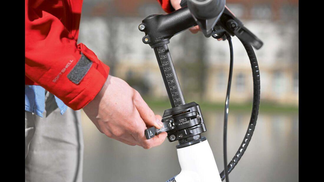 Per Speedlifter lässt sich der Lenker beim Hymer- und beim Knaus-E-Bike schnell absenken