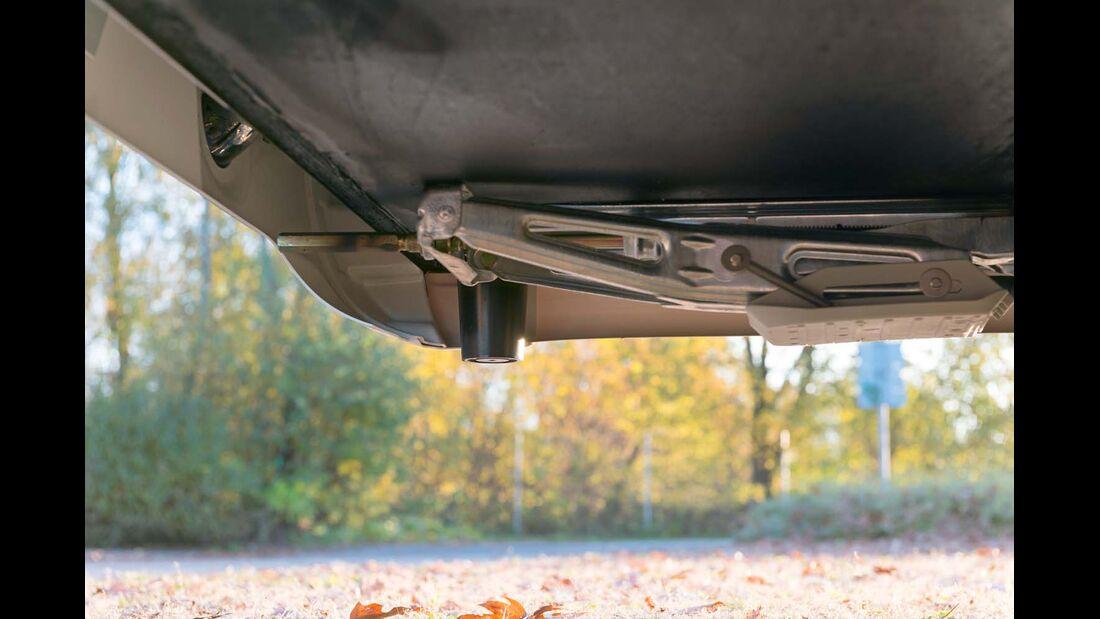 Plastikpuffer anstelle schwerer Metallbügel.
