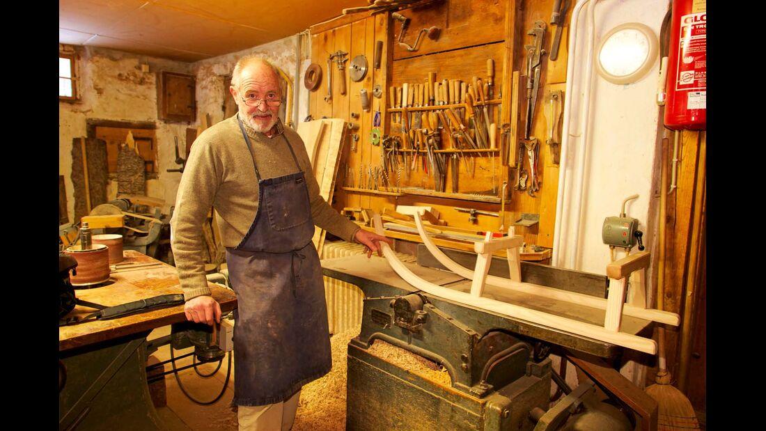 Rudolf Finkel liebt das Schlittenbauen über alles.