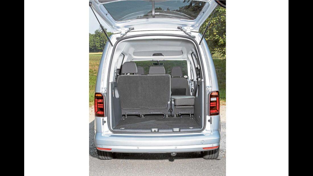 Rückbank klappt flott nach vorn, kann auch ganz entnommen werden beim VW-Caddy