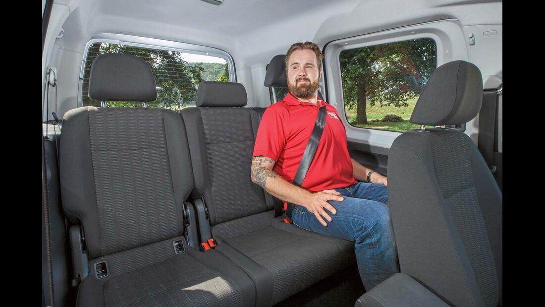 Rücksitze mit offener Isofix-Öse beim VW-Caddy