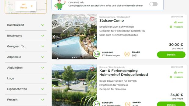 Screenshot Camping.info