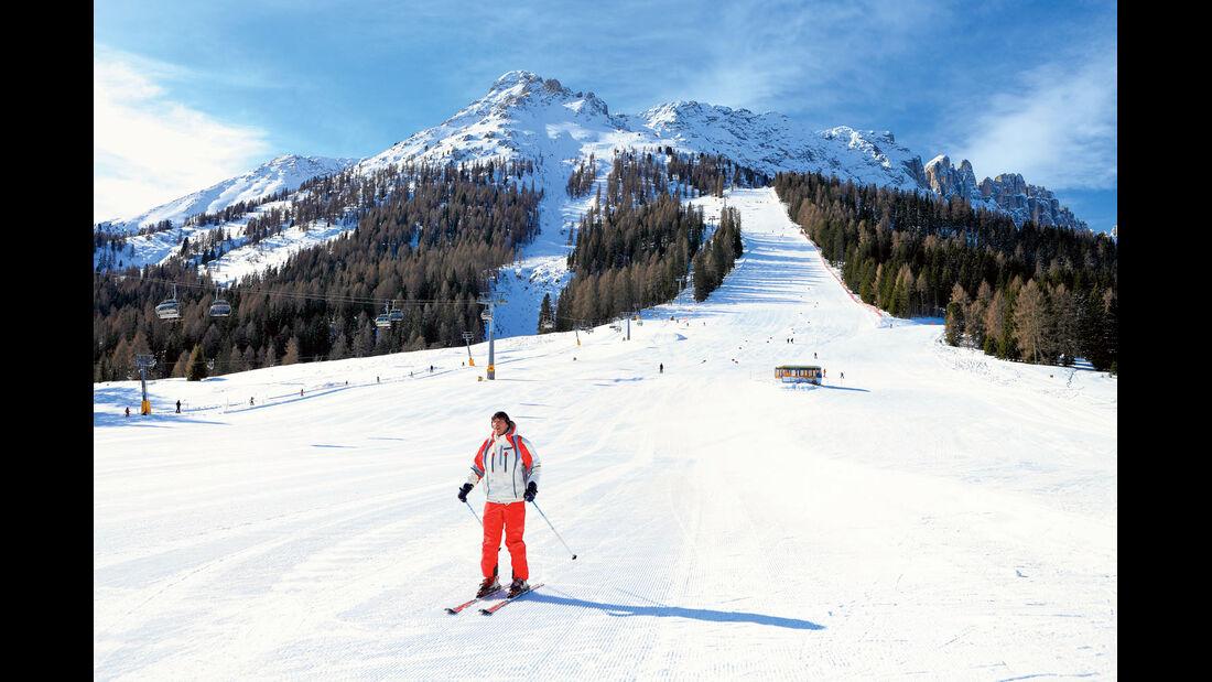Skifahren im Gebiet Karersee