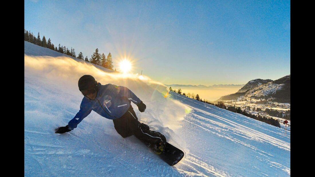 Snowboarder finden im Allgäu ebenfalls beste Bedingungen vor.
