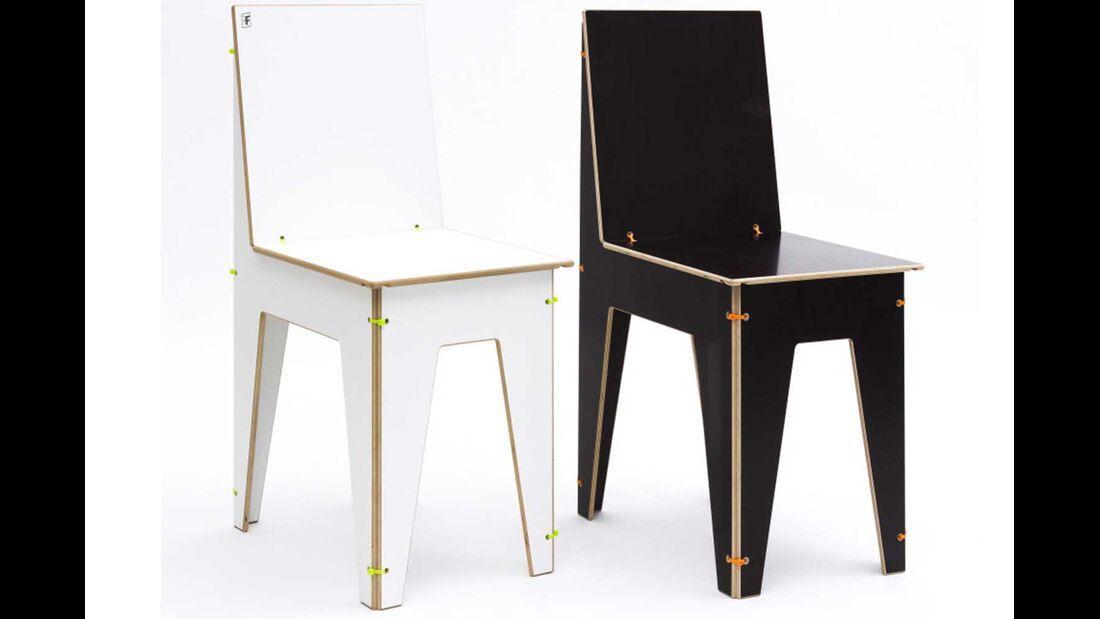 Stuhl Luise weiß und braun
