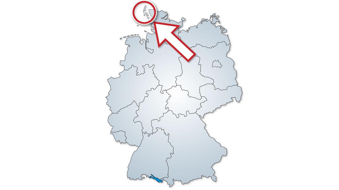 Sylt auf der Deutschland-Karte.