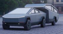 Tesla Cybertruck mit Aufliegecaravan