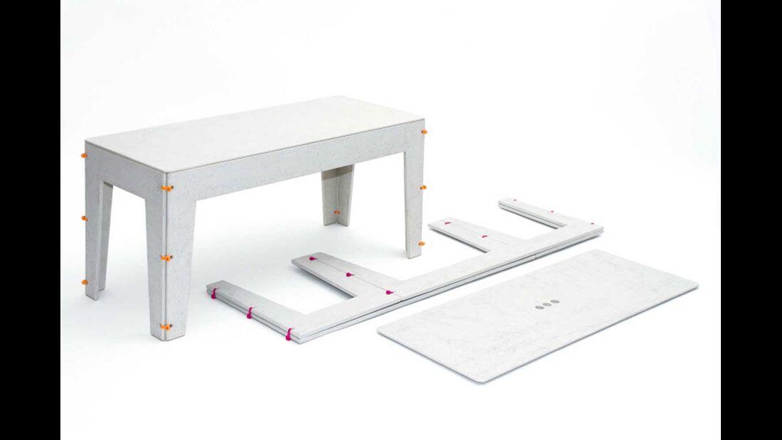 Tisch Hedwig Beton mit Faltung