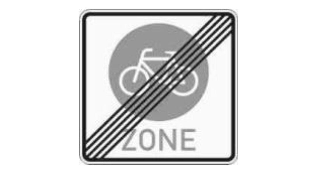 Verkehrszeichen Radzone Ende